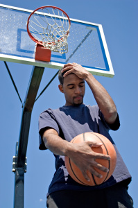 dejected basketball player